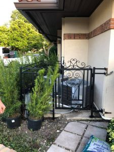 Custom Welded Iron Fencing and Gate for Air Conditioning Unit